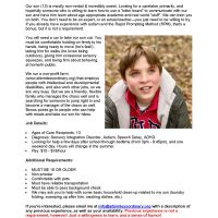 Looking for Fall/Winter Caregiver for Our Autistic Son--Great Resume-Building Opportunity!